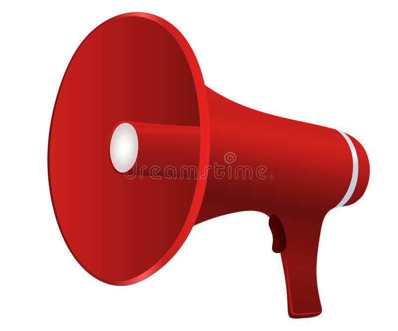 Красный мегафон шаржа иллюстрация вектора