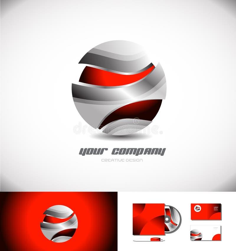 Красный металлический дизайн значка логотипа сферы 3d иллюстрация вектора