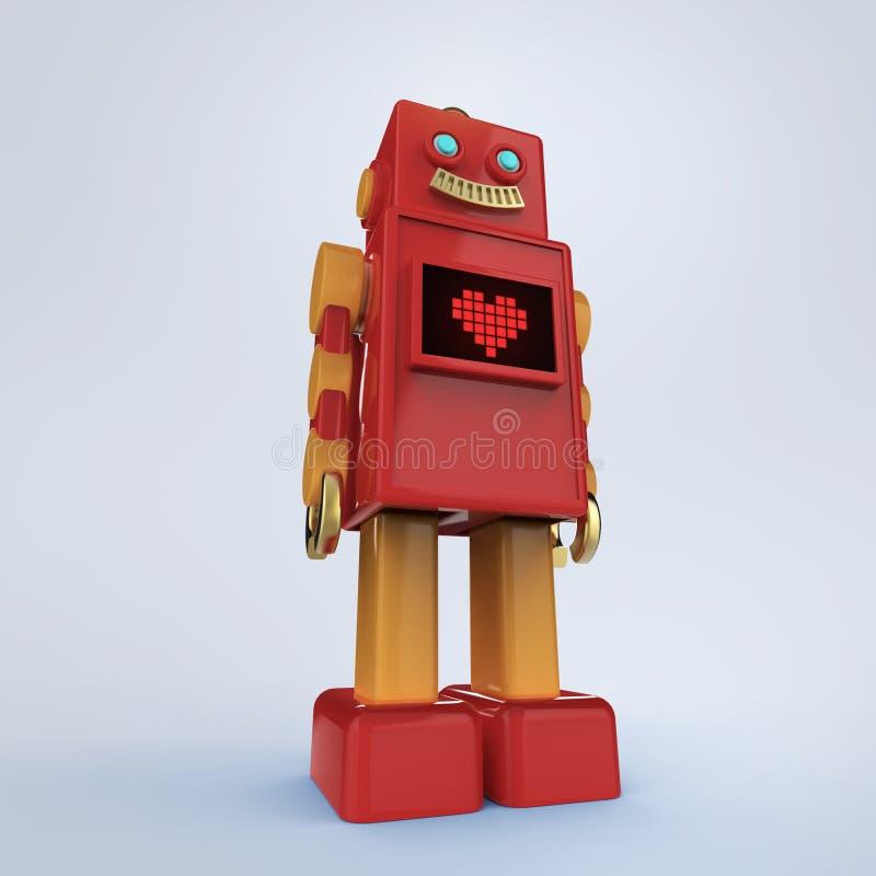 Красный милый винтажный робот с сияющим светлым значком сердца пиксела bub и экрана иллюстрация вектора