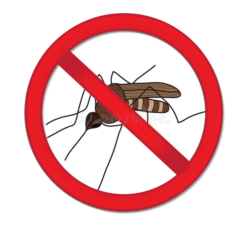 Красный москит запрета знака Остановите насекомое москита также вектор иллюстрации притяжки corel иллюстрация вектора