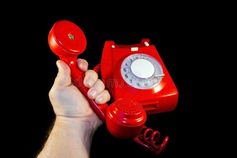 Красный набирать телефона стоковая фотография rf