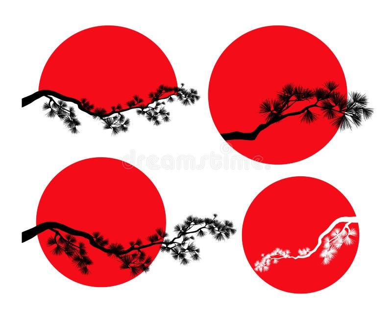 Красный набор дизайна вектора ветви солнца и сосны иллюстрация штока