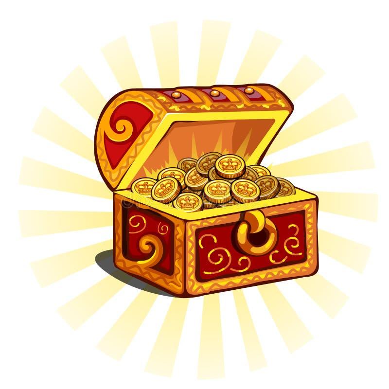 Красный накаляя открытый комод с золотыми монетками иллюстрация штока