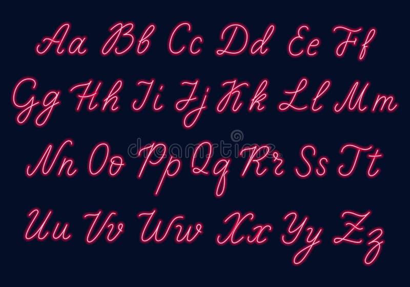 Красный неоновый сценарий Uppercase и строчные буквы бесплатная иллюстрация