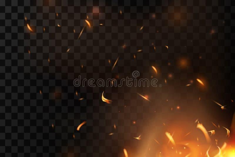 Красный огонь искрится вектор летая вверх Горя накаляя частицы Пламя огня с искрами в воздухе над темной ночой иллюстрация вектора