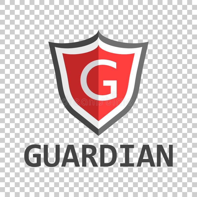 Красный логотип экрана Vector иллюстрация в плоском стиле с gua слова иллюстрация вектора