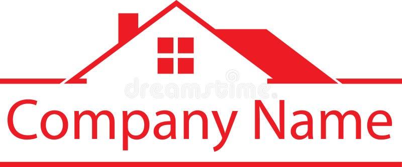 Красный дом логотипа недвижимости иллюстрация штока