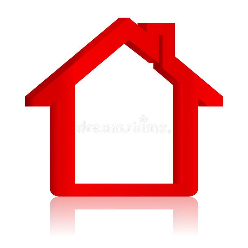 Красный дом с отражением в зеркале иллюстрация штока