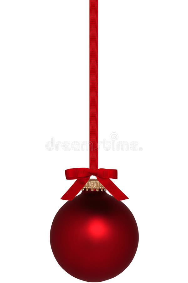 Красный орнамент рождества с смычком стоковые фото
