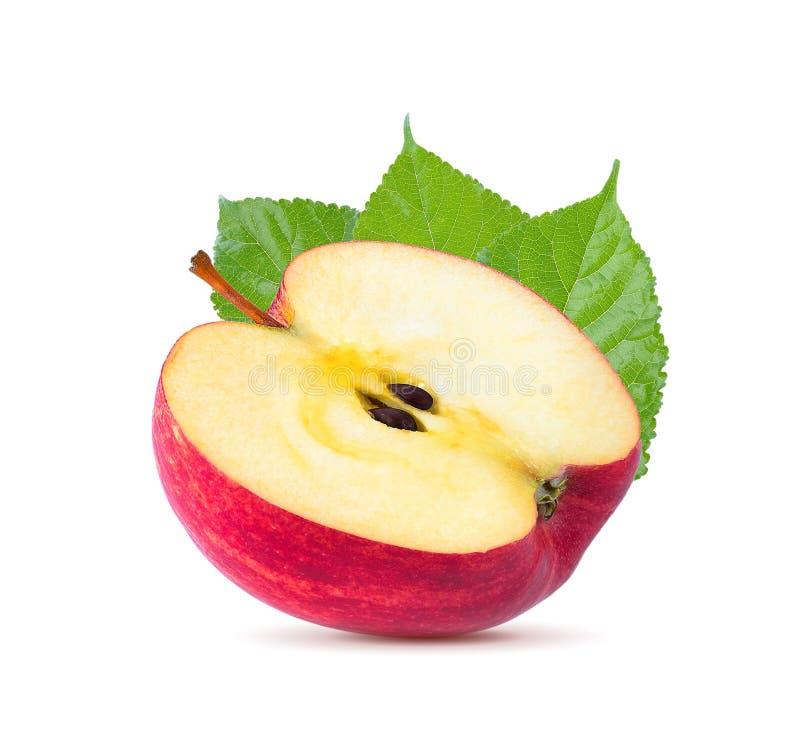 Красный отрезок куска плодоовощ яблока изолированный на белой предпосылке стоковое фото rf