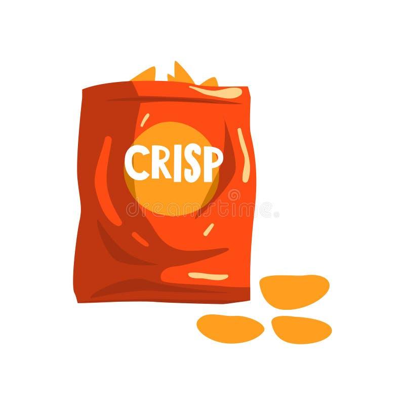 Красный пакет сумки хрустящих закусок картофельных стружек vector иллюстрация на белой предпосылке иллюстрация штока