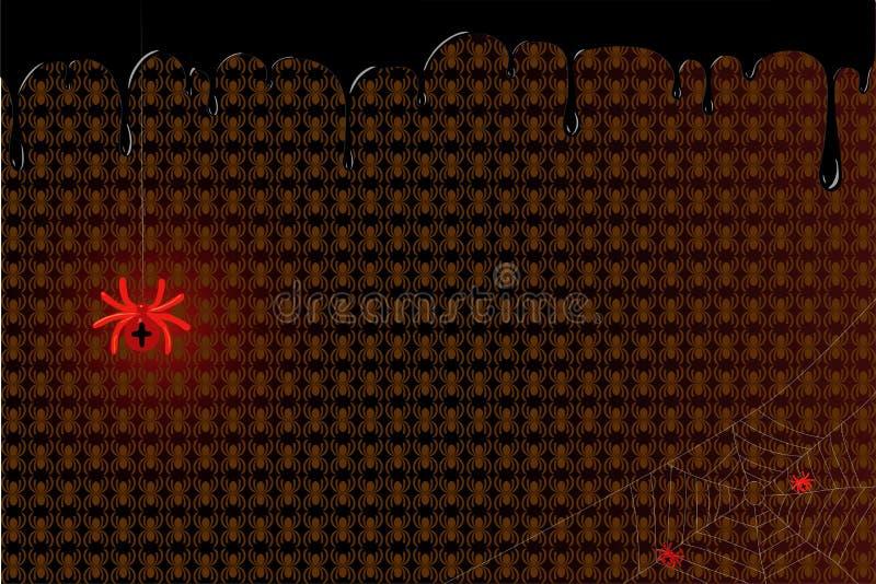 Красный паук с новичками в сети также вектор иллюстрации притяжки corel иллюстрация штока