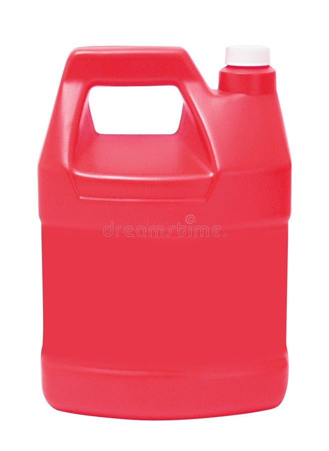 Красный пластичный галлон, jerry может изолированный на белизне стоковое фото