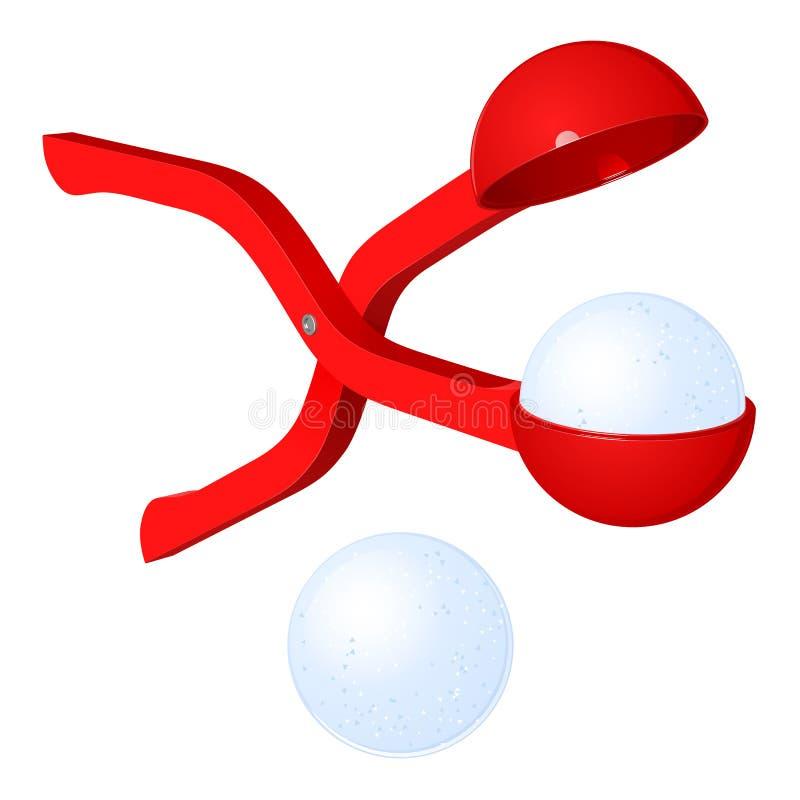 Красный пластичный лоск снега для игры снежных комьев, иллюстрации ` s ребенка вектора иллюстрация вектора