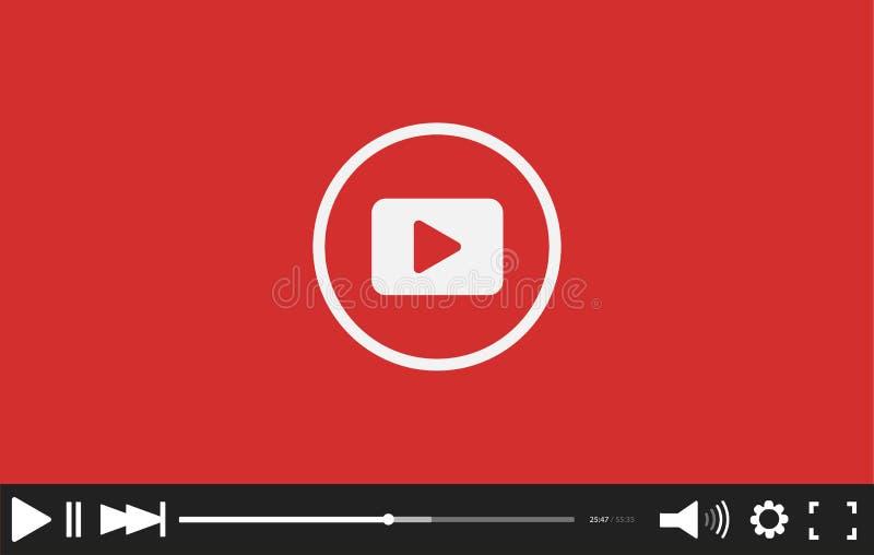 Красный плоский шаблон бара видео-плейер для вашего дизайна Ультрамодный минимальный внезапный интерфейс в социальном стиле иллюстрация вектора