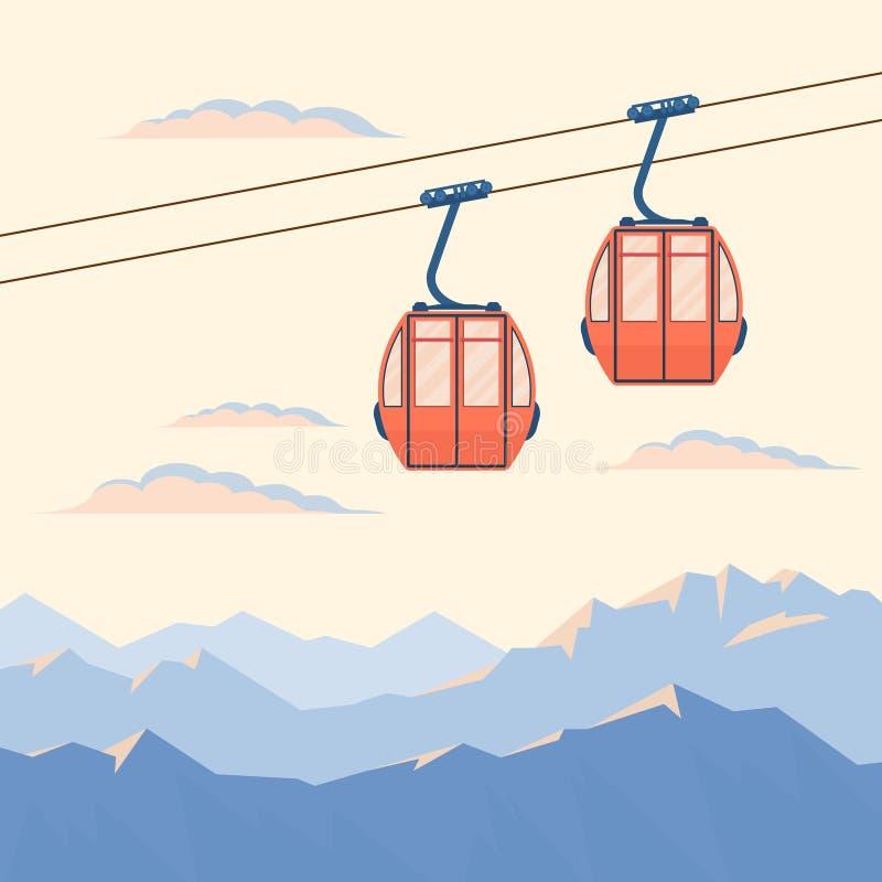Красный подъем кабины лыжи для движений лыжников горы в воздухе на кабел-кране на предпосылке гор снега зимы иллюстрация штока