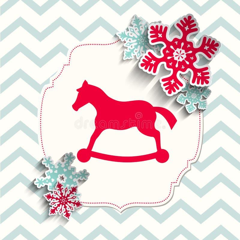 Красный пони игрушки с абстрактными снежинками на беже бесплатная иллюстрация