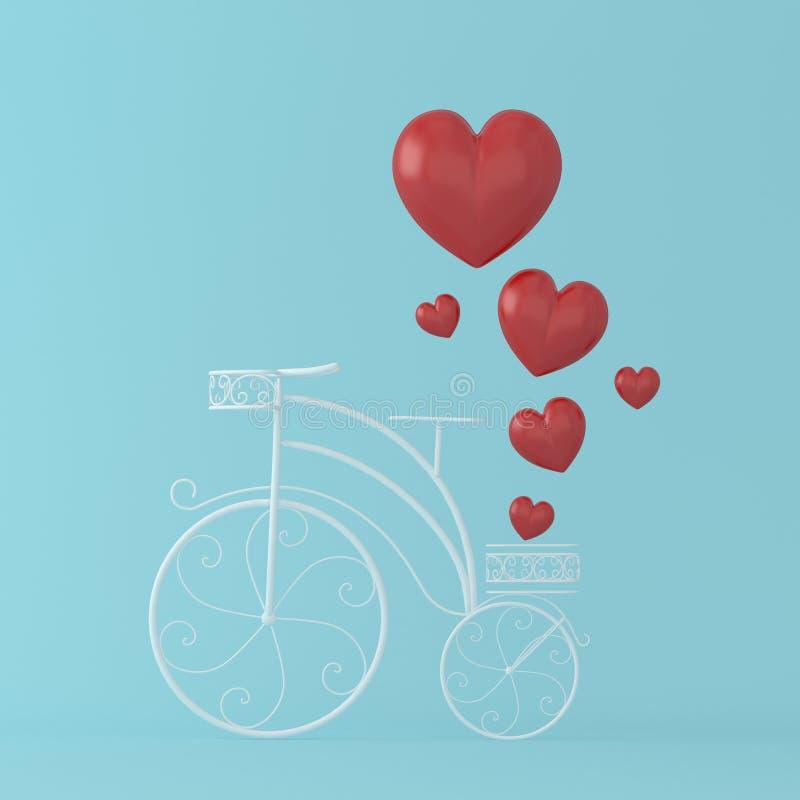 Красный поплавок сердца на белом годе сбора винограда велосипеда на голубом пастельном backgr иллюстрация штока