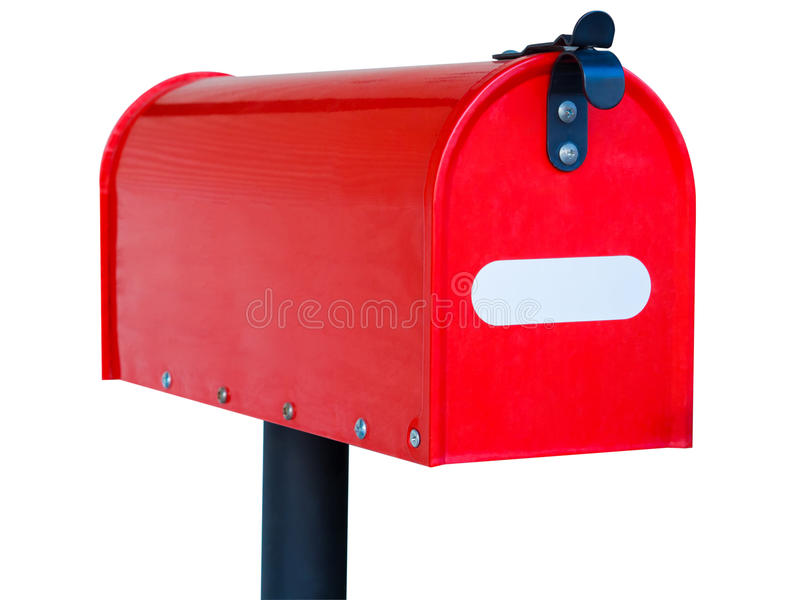 Красный почтовый ящик изолированный на белой предпосылке стоковые фото
