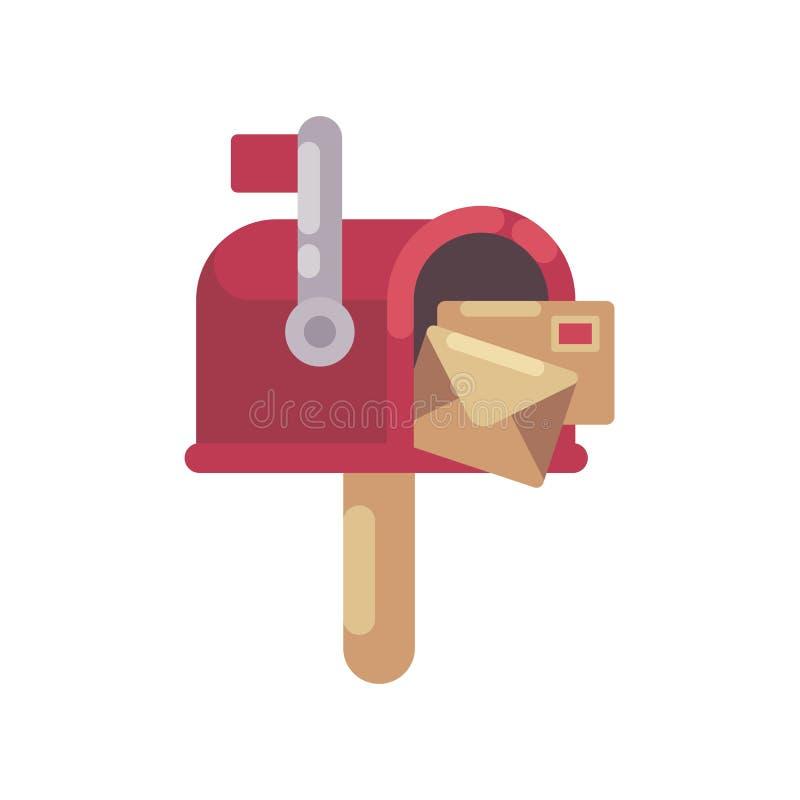 Красный почтовый ящик с иллюстрацией писем плоской Значок почтового ящика рождества бесплатная иллюстрация