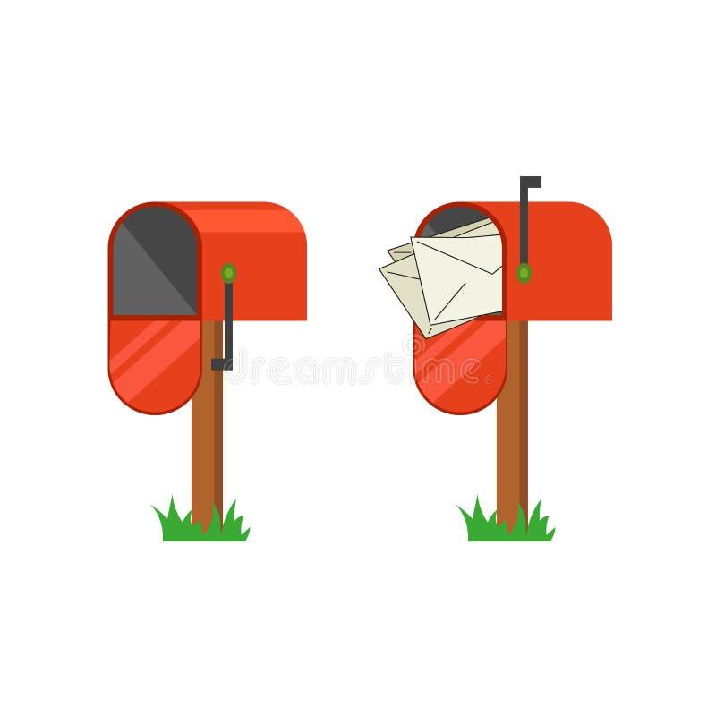 Красный почтовый ящик с и без писем бесплатная иллюстрация
