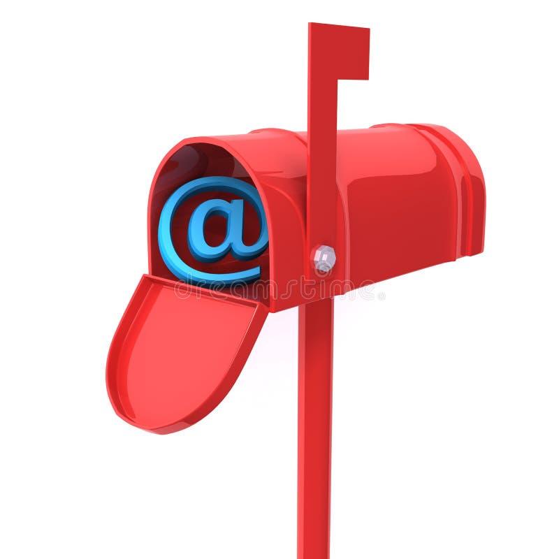 Красный почтовый ящик с иллюстрацией знака 3d электронной почты бесплатная иллюстрация