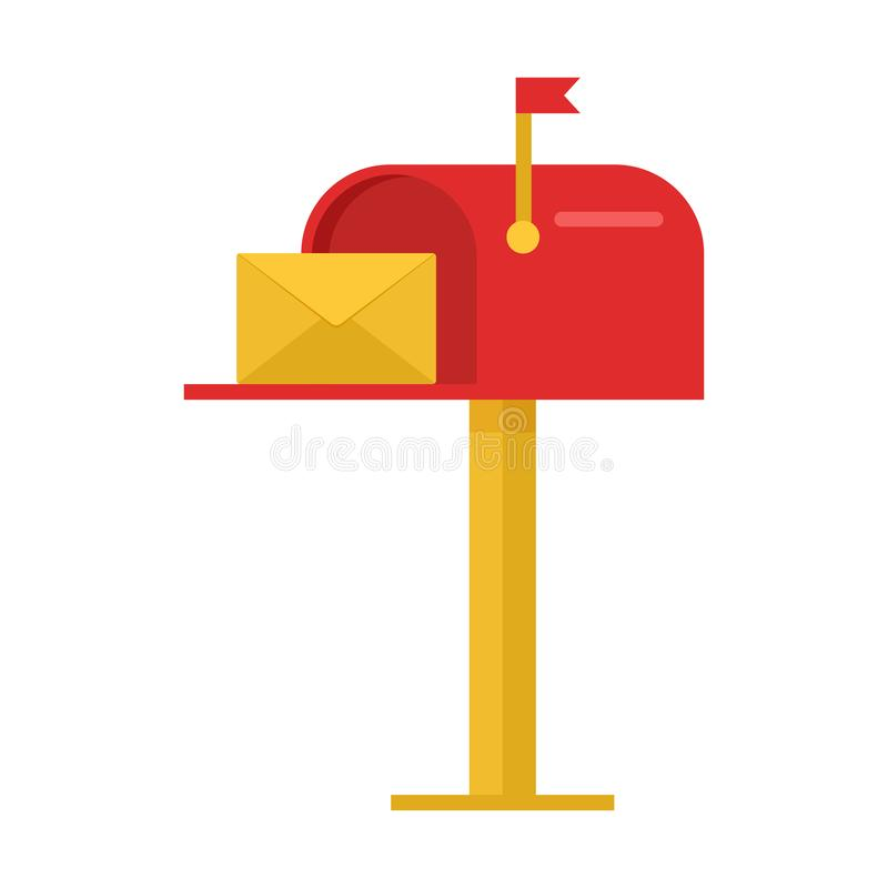 Красный почтовый ящик с конвертом yelow вектор иллюстрация штока
