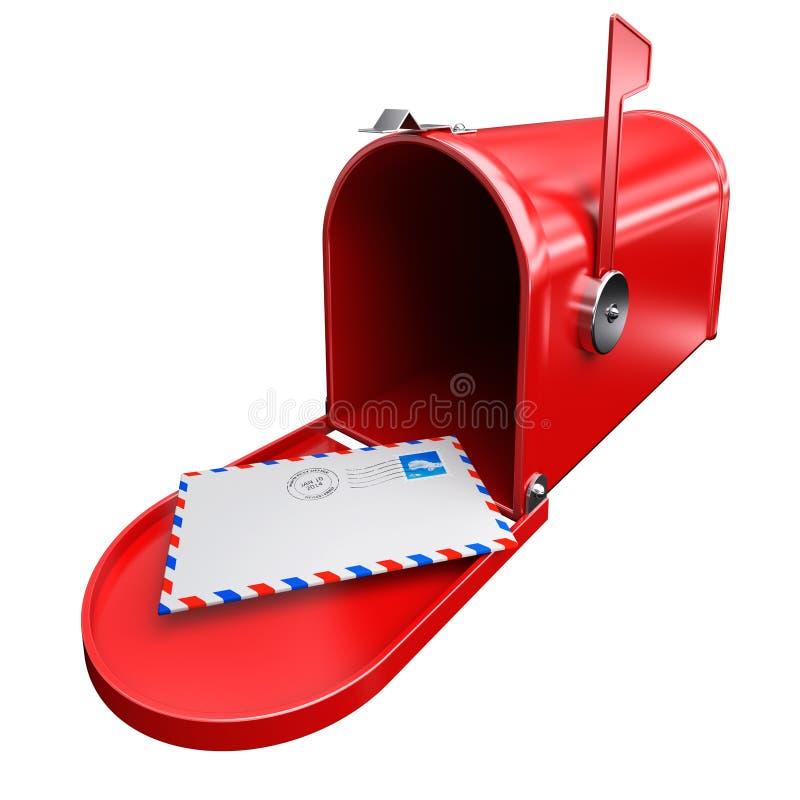 Красный почтовый ящик иллюстрация штока