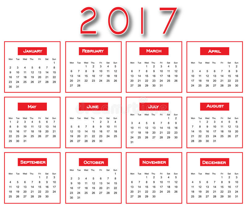 Красный простой 2017 календарь - дизайн календаря 2017 бесплатная иллюстрация