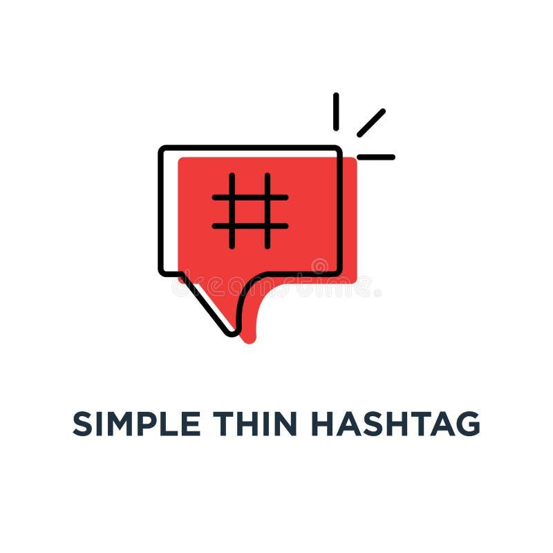 красный простой тонкий значок hashtag, символ популярного сообщения для microblogging или рекламировать логотип контура концепции иллюстрация штока