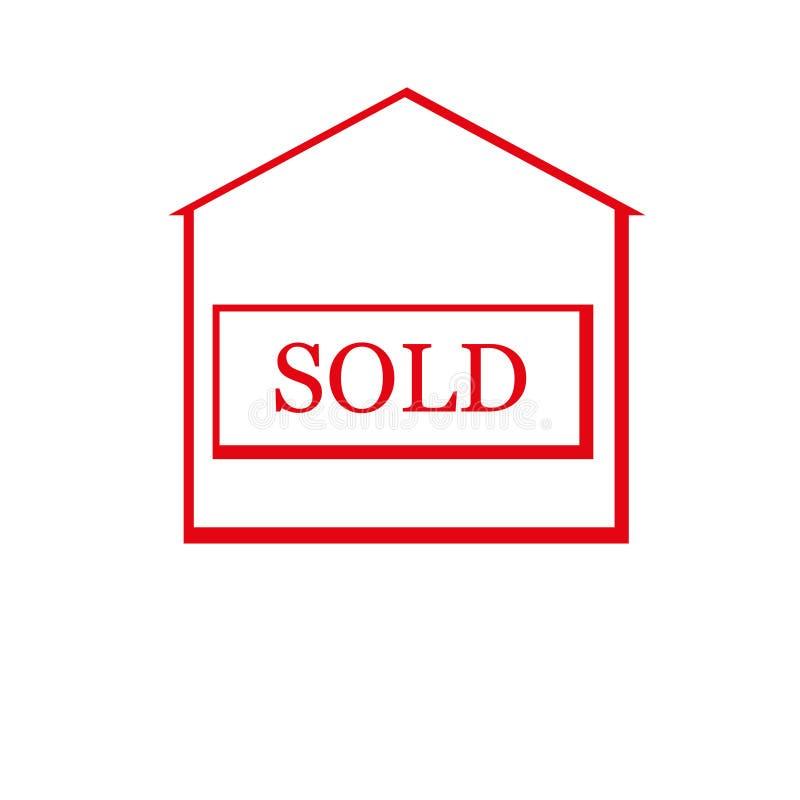Красный проданный дом иллюстрация штока