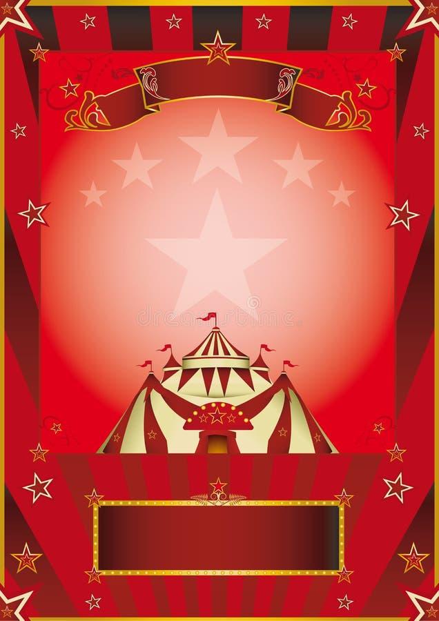 Красный плакат года сбора винограда цирка бесплатная иллюстрация