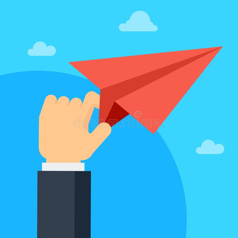 Красный самолет воздуха в руке бесплатная иллюстрация