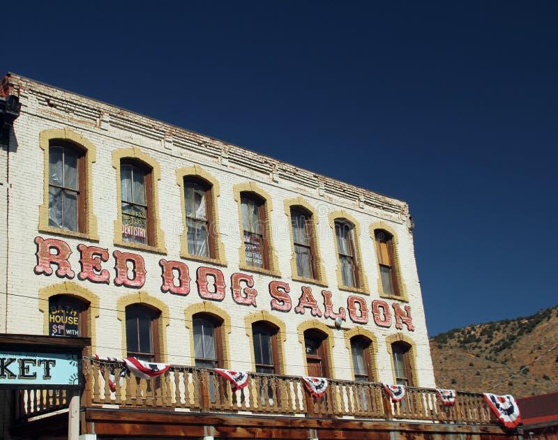 Красный салон собаки на Virginia City стоковые фотографии rf