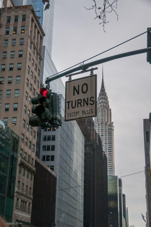 Красный светофор в Нью-Йорке стоковая фотография