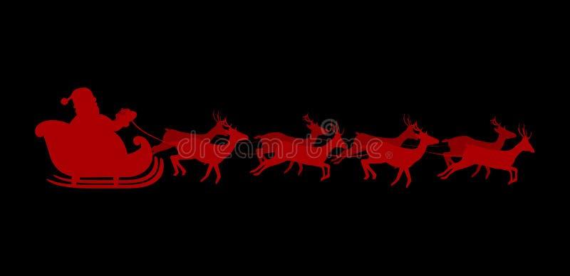Красный силуэт Санта Клауса ехать сани при изолированные олени иллюстрация штока