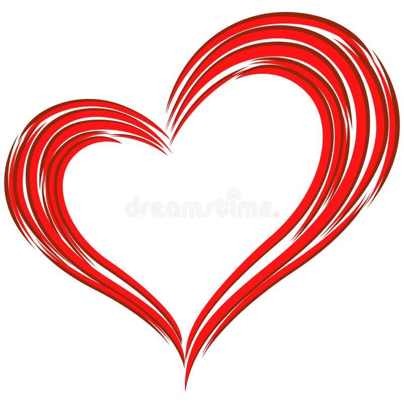 Красный символ влюбленности сердца иллюстрация штока