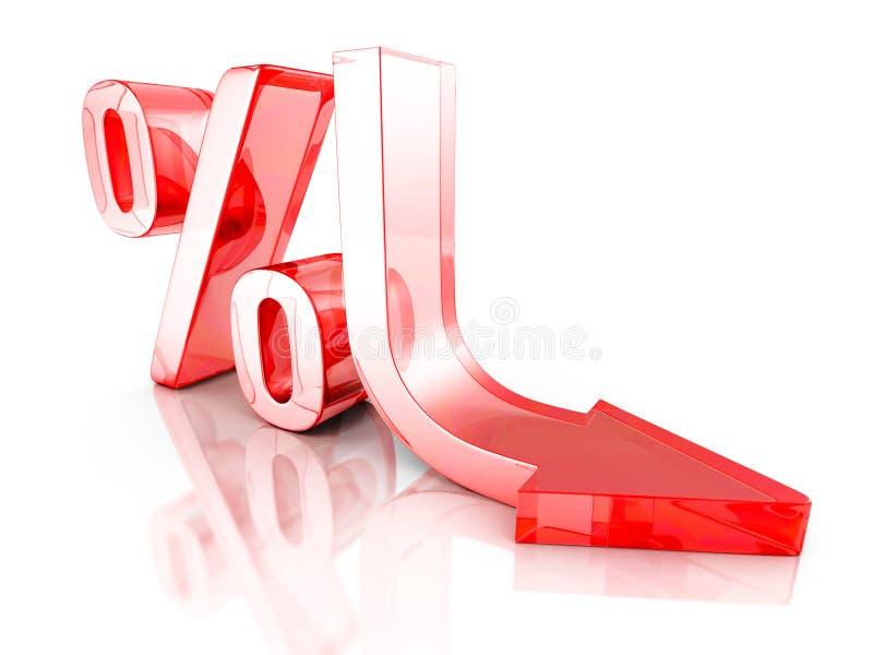 Красный символ процентов интереса стрелки падения Финансовое дело Conce бесплатная иллюстрация