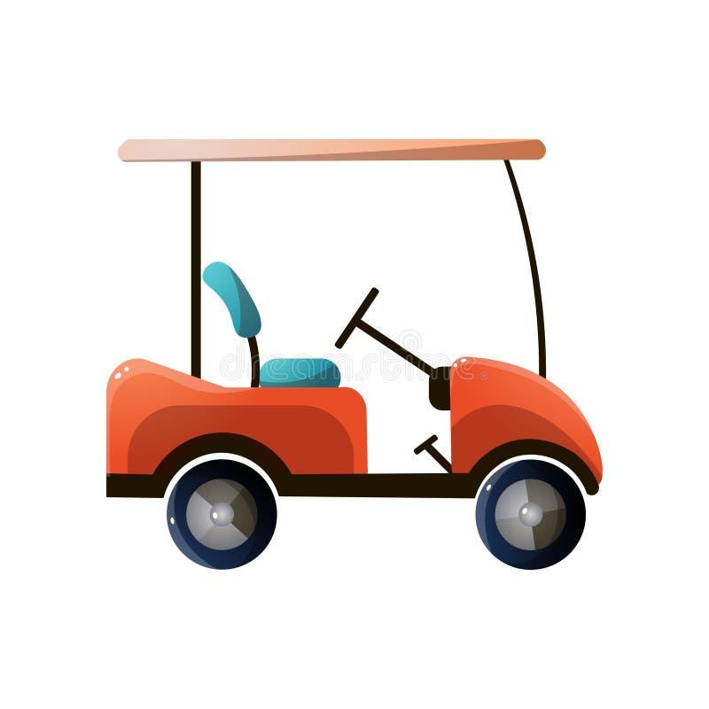 Красный современный автомобиль гольфа с электрическим сильным двигателем бесплатная иллюстрация