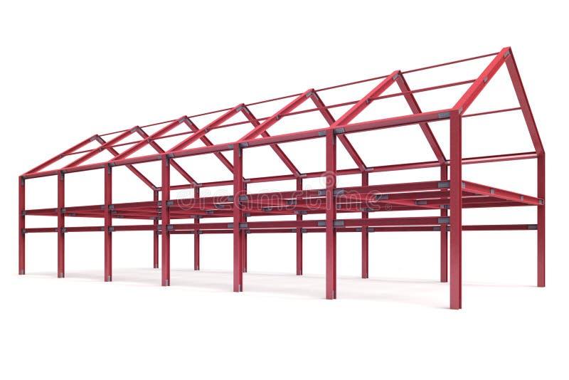 Красный стальной взгляд перспективы угла здания рамок иллюстрация вектора