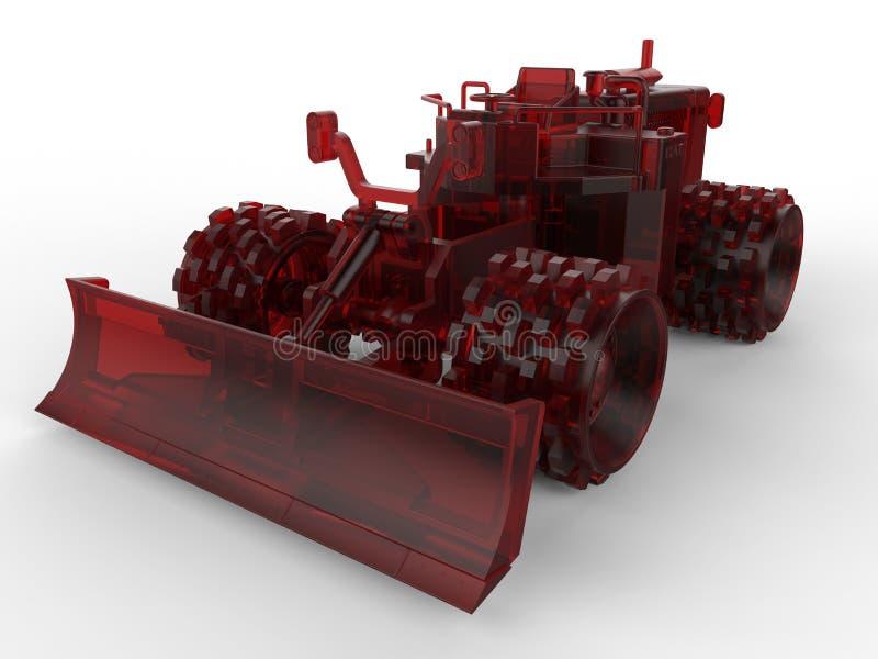 Красный стеклянный малый бульдозер иллюстрация вектора