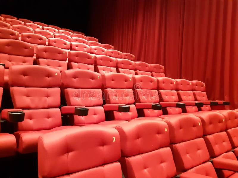 Красный театр Hall стоковое фото rf