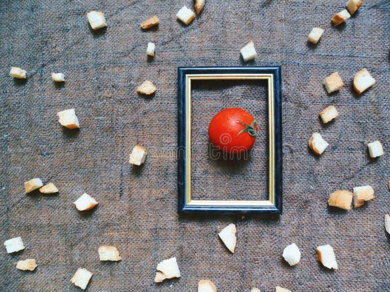 красный томат в рамке на предпосылке белых шутих стоковые фотографии rf