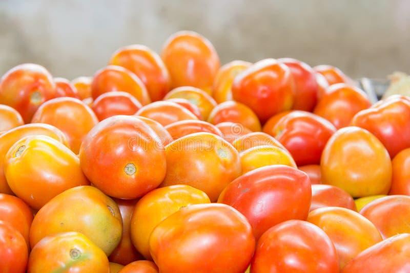 Красный томат на таблице в рынке, стоковые фотографии rf