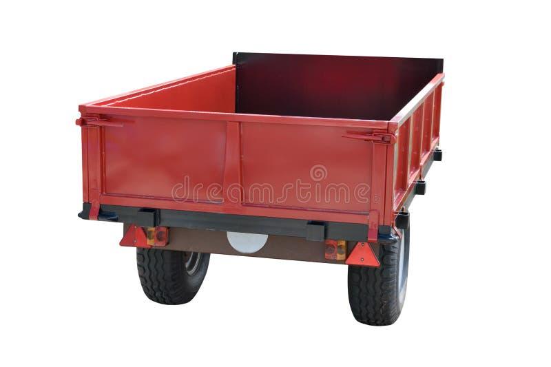 Красный трейлер автомобиля изолированный на белой предпосылке стоковые фото