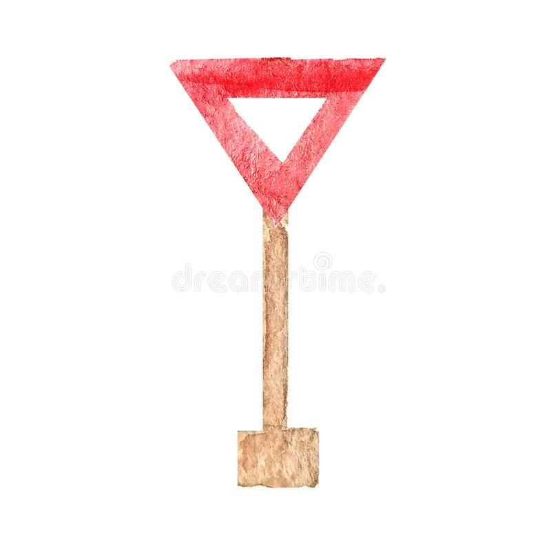 Красный триангулярный дорожный знак дать путь на столбе в акварели иллюстрация вектора