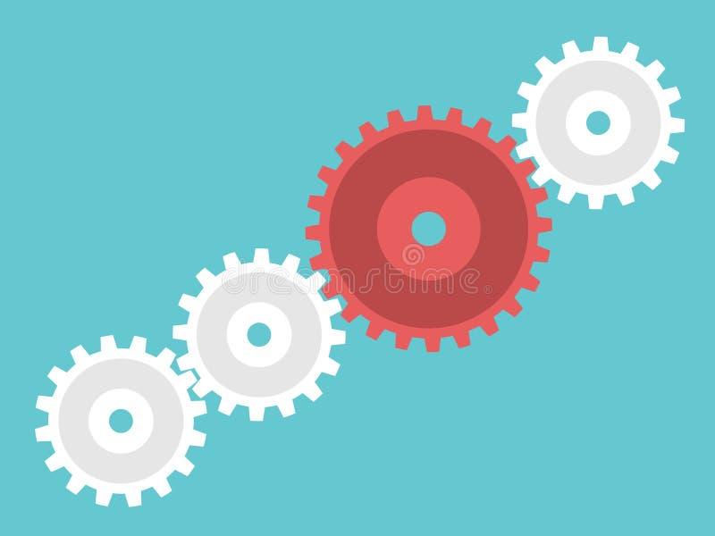 Красный уникально cog руководителя иллюстрация вектора