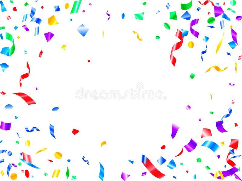 Красный фиолетовый зеленый желтый сияющий confetti праздника иллюстрация вектора