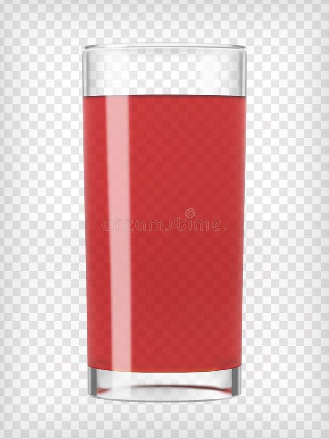 Красный фруктовый сок в стекле иллюстрация штока