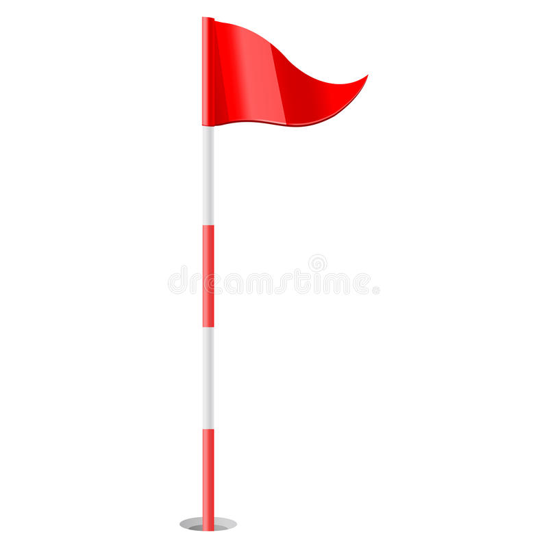 Красный флаг гольфа иллюстрация вектора